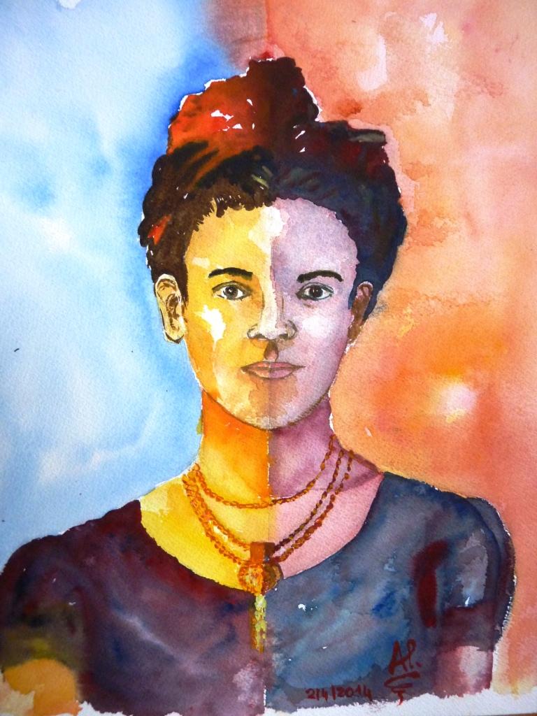 Frida Kahlo aquarelle compressé