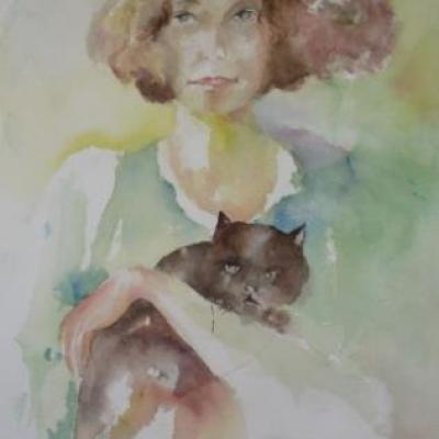 Aquarelle : la femme au chat